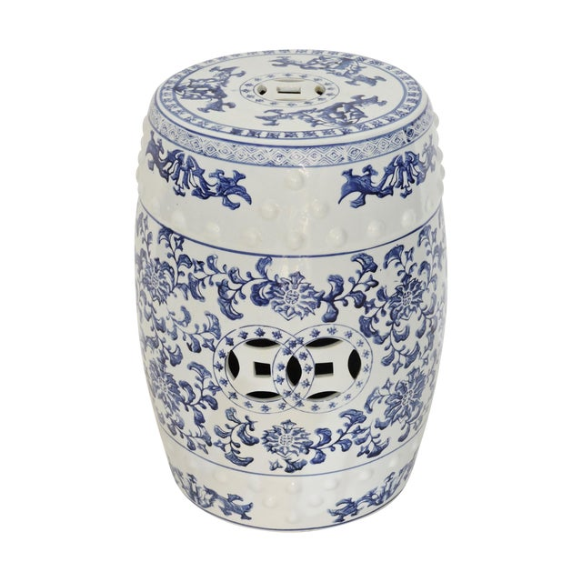 Blue & White Chinese Garden Seat - Image 1 of 4
