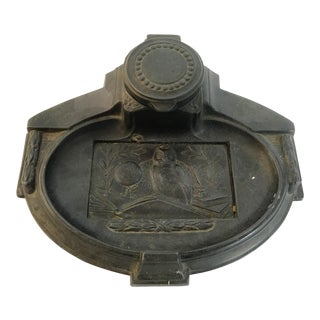 Antique Spelter Owl Inkwell For Sale