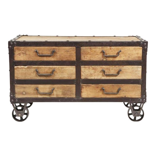 Reclaimed wood iron side cabinet with drawers chairish Where can i buy reclaimed wood near me