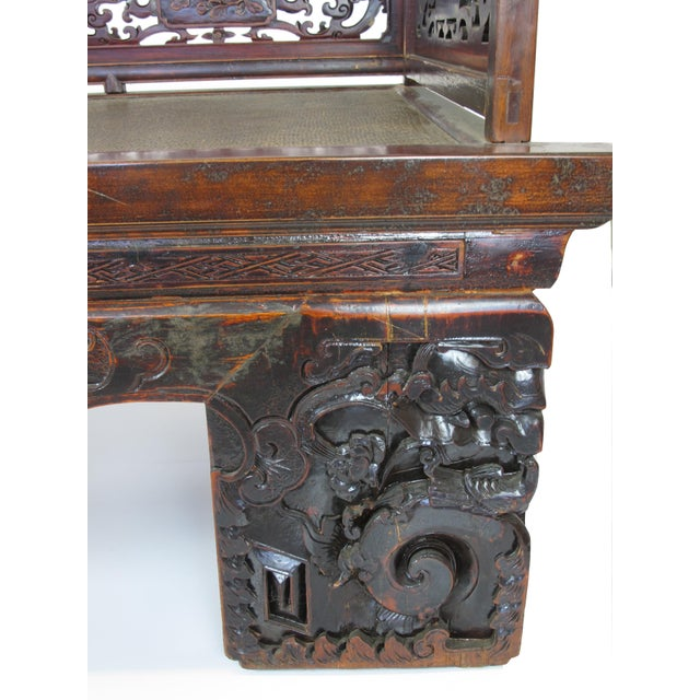 1900s Antique Chinese Daybed With Hand Carved Railing For Sale - Image 9 of 11