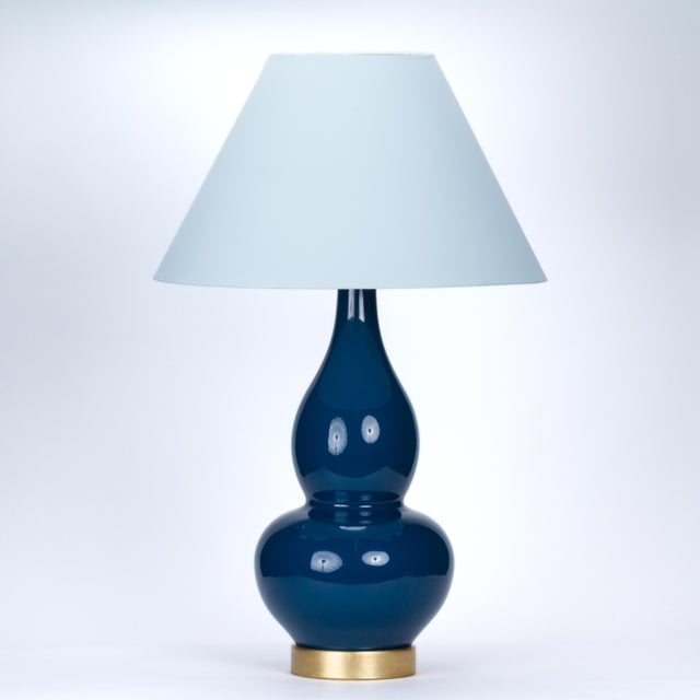 Ceramic Casa Cosima Double Gourd Table Lamp, Prussian Blue/Blue Stream Shade For Sale - Image 7 of 7