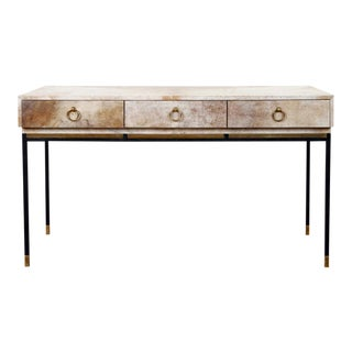 1950s Parchment Top With Brass and Steel Legs Console For Sale