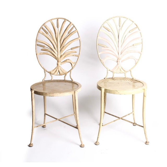 Vintage Wheat Themed Metal Chairs - a Pair - Image 9 of 9