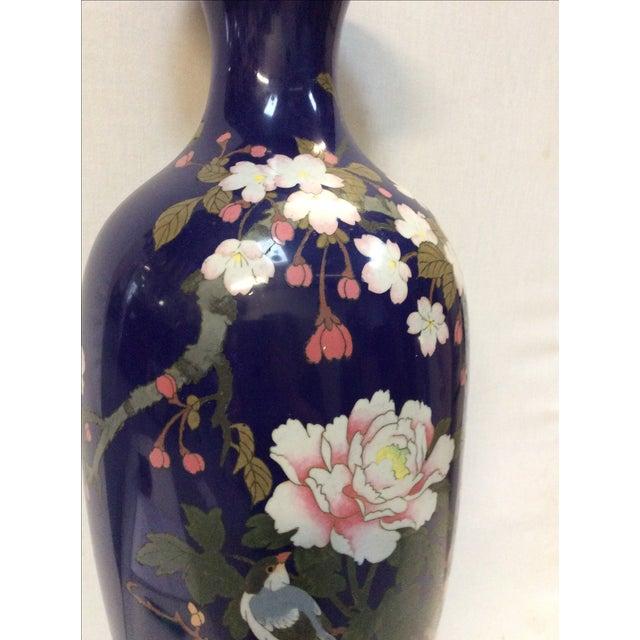 Blue Japanese Cloisonné Lamp For Sale - Image 5 of 11