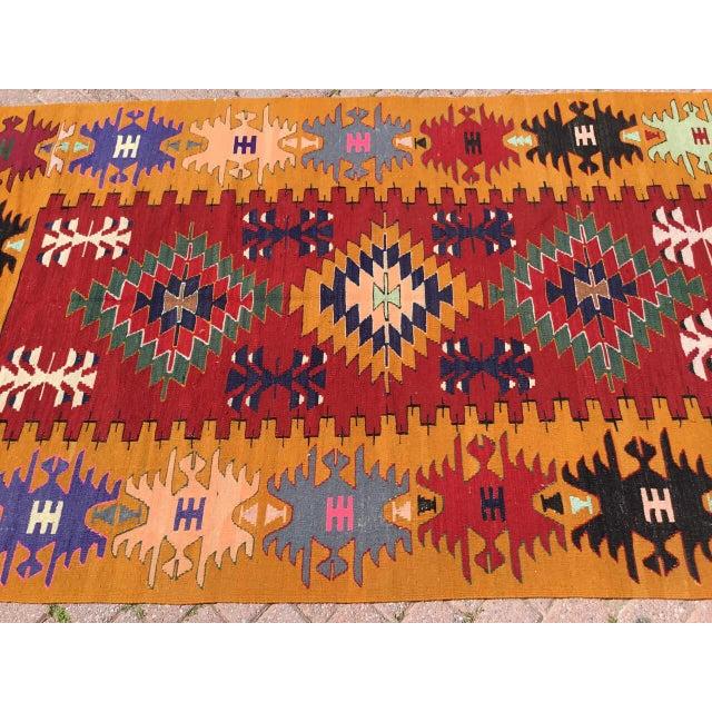 Boho Chic Orange Turkish Kilim Rug For Sale - Image 3 of 9