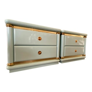 Vintage Italian Lacquered Nightstands-a Pair For Sale