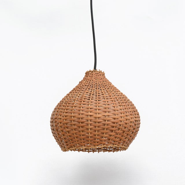 1960s Wicker Lampshade Ceiling Lamp, Denmark For Sale - Image 6 of 11