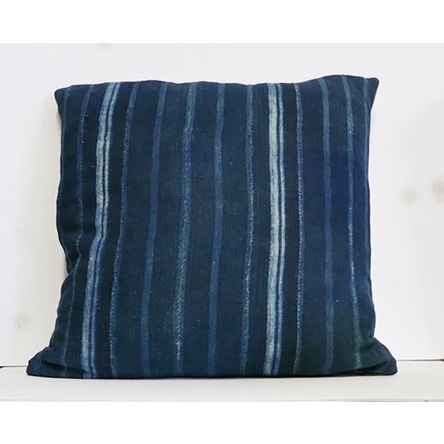 1970s African Blue Striped Mudcloth Pillow For Sale - Image 5 of 5