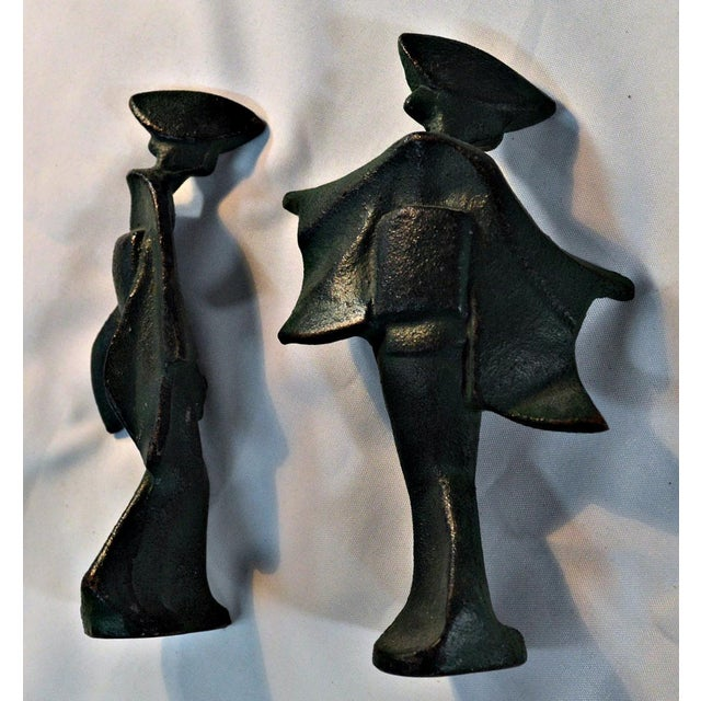 Iron Mid-Century Cast Iron Geisha Figures - A Pair For Sale - Image 7 of 11