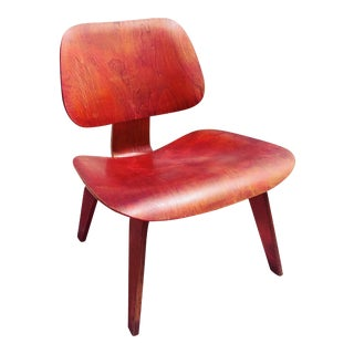 1950s Vintage Eames Lcw Herman Miller Analine Red Chair For Sale