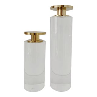 1980s Vintage Lucite and Brass Candle Holders - a Pair For Sale