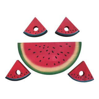 Wooden Watermelon Cutting Board & Napkin Rings - Set of 5 For Sale