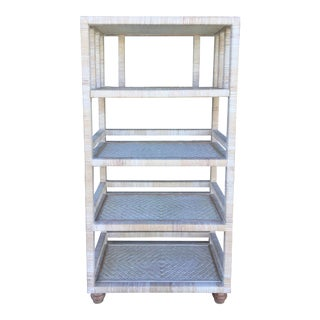 Boho Chic White Washed Rattan Etagere For Sale