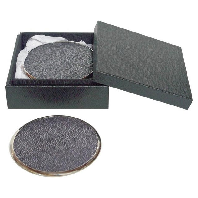 2010s Six-Piece Set of Black Shagreen Coasters by Fabio Ltd For Sale - Image 5 of 5
