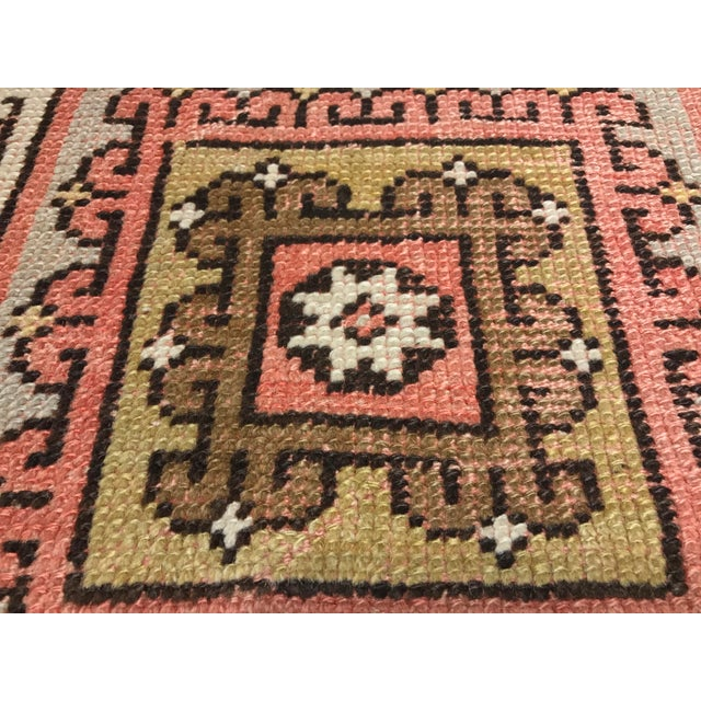 "Vintage Square Pattern Turkish Oushak Rug - 4'2"" x 6' - Image 8 of 11"