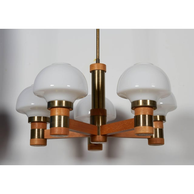 Brass Mid-Century Teak and Brass Five-Light Chandelier For Sale - Image 7 of 8