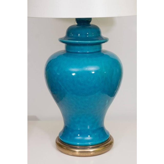 Early 20th Century Pair of Mid-Century Ceramic Blue Lamps For Sale - Image 5 of 9