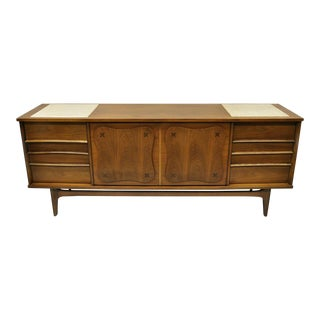 Mid Century Modern Bassett Star Inlay Walnut & Travertine Dresser For Sale