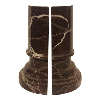 Rich Brown Marble Column Bookends - a Pair For Sale
