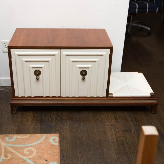 A clean asian-influenced midcentury bench designed by Lorenzo Rutili for Johnson furniture. Newly refinished mahogany...