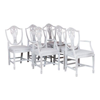1900s Antique White Painted Swedish Dining Chairs- Set of 6 For Sale