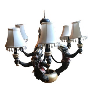 Vintage Monkey Tole Chandelier For Sale