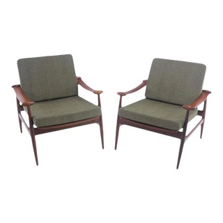 "Pair of Danish Modern ""Spade' Armchairs Designed by Finn Juhl For Sale"