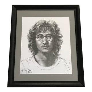 Large Framed John Lennon by Robert Stephen Simon Lithography Signed For Sale