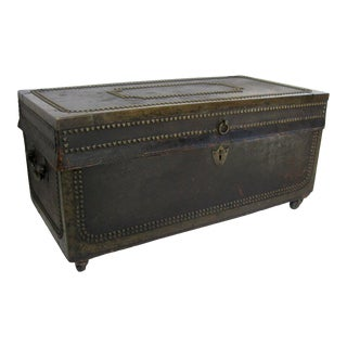 Early 19th Century Leather Camphor Campaign Trunk Box For Sale