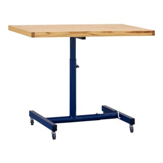 Vintage Industrial Standing Desk, Refinished in Midnight Blue For Sale