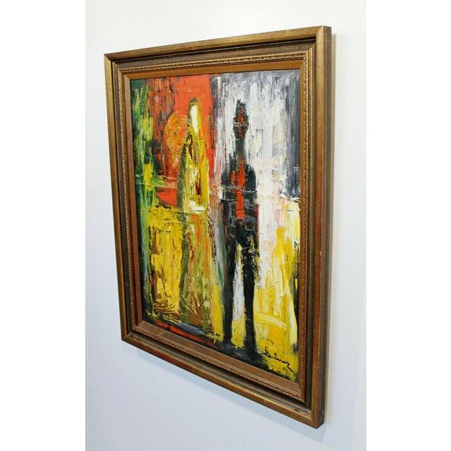 Modern Mid Century Modern Framed Oil Pallet Knife Canvas Painting Signed Bochraz For Sale - Image 3 of 9