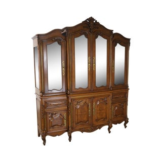 Bau Furniture Louis XV Lighted Breakfront Cabinet For Sale