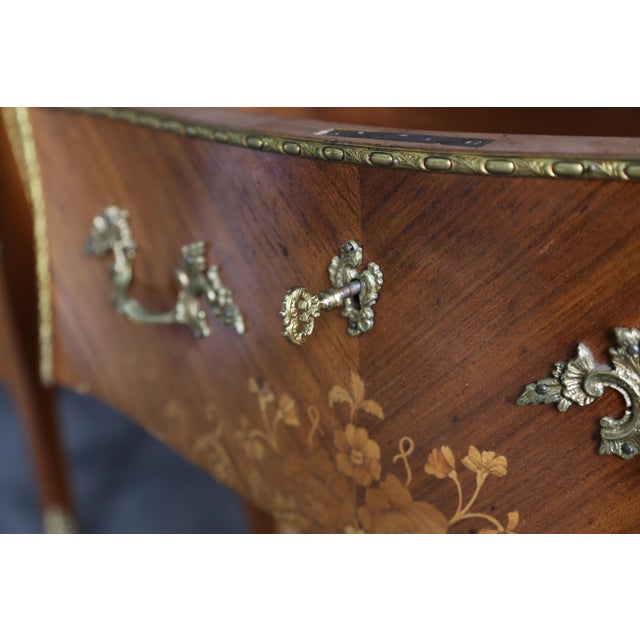 French 1900s Antique French Rococo Marble Top Nightstands-a Pair For Sale - Image 3 of 12
