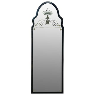 1920s Queen Anne Style Engraved Glass Mirror For Sale