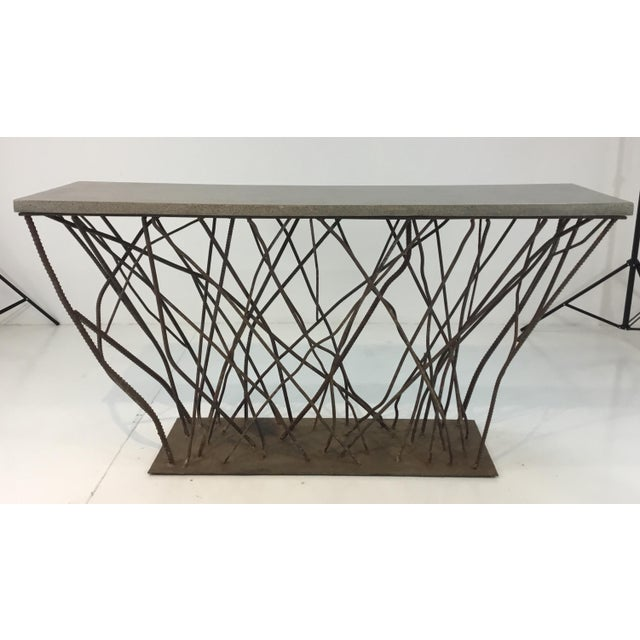 2010s Industrial Modern Currey & Co. Concrete and Rebarb Prototype Console Table For Sale - Image 5 of 5