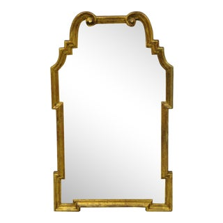 Italian Gold Giltwood Hollywood Regency Scroll Wall Console Mirror Kent Coffey For Sale