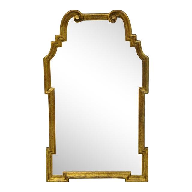 Italian Gold Giltwood Hollywood Regency Scroll Wall Console Mirror Kent Coffey For Sale