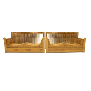 One of Two Mario Ceroli 'Mobili Della Valle' Sofa, Pine Wood, Potronova Italy 1966 For Sale