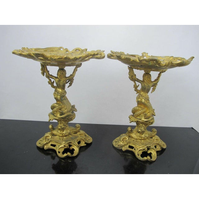 Antique 19th C. French Gilt Ormolu Bronze Neptune Poseidon Candle Card Holders - a Pair For Sale - Image 4 of 13