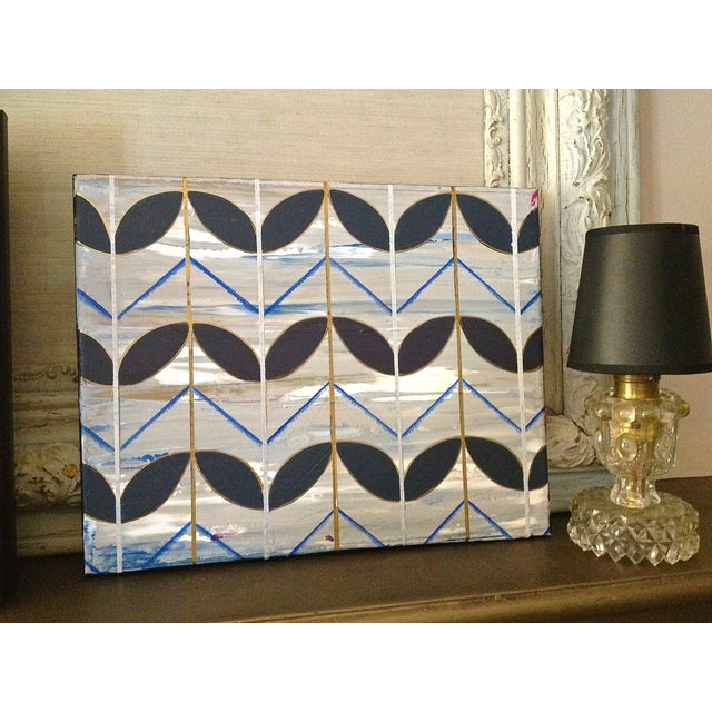 Blue Deco Leaves Painting For Sale In San Francisco - Image 6 of 6