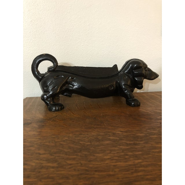 1960s Vintage Cast Iron Dachshund Boot Scraper/Doorstop For Sale - Image 5 of 5