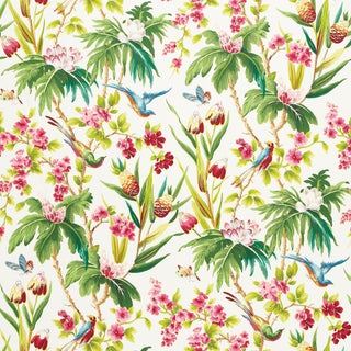 Sample - Schumacher Seychelles Wallpaper in Ivory For Sale