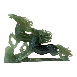 Chinese Green Jade Stone Double Horses Fengshui Display Figure
