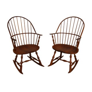 Martins Chair Shop Inc Bench Made Solid Cherry Sackback Pair Windsor Rockers (C) For Sale