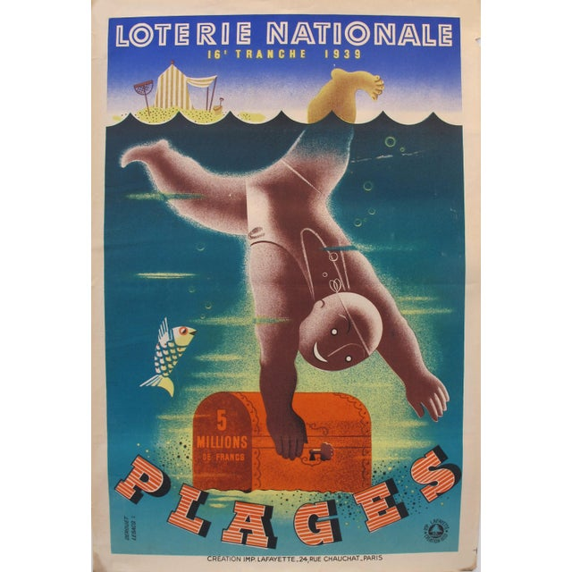 1939 French Art Deco Poster - Loterie Nationale Advertisement - 16e Tranche 1939 - Plages For Sale - Image 6 of 6