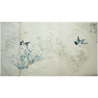 19th Century Meiji Era Japanese Landscape With Chrysanthemums and Two Birds Watercolor Painting For Sale