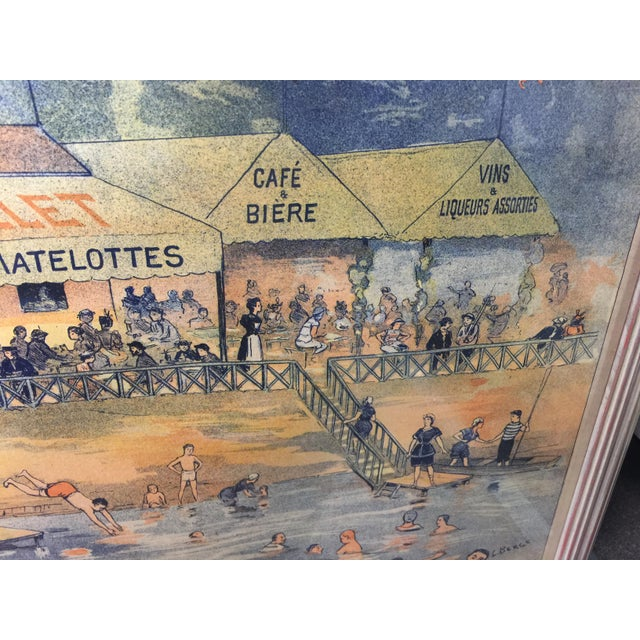 1900s Antique French Advertising Poster Baignade De St . Maurice For Sale - Image 5 of 8