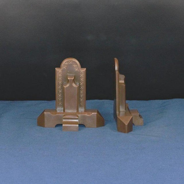 Arts & Crafts Bronze Craftsman Book Ends For Sale - Image 3 of 7