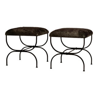 Pair of Large Faux Fur 'Strapontin' Stools by Design Frères For Sale