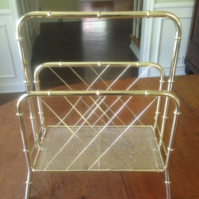 Vintage Faux Bamboo Gold Magazine Rack For Sale - Image 11 of 11